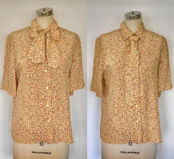 80's Silk David Hayes Tie Front Blouse | L/XL