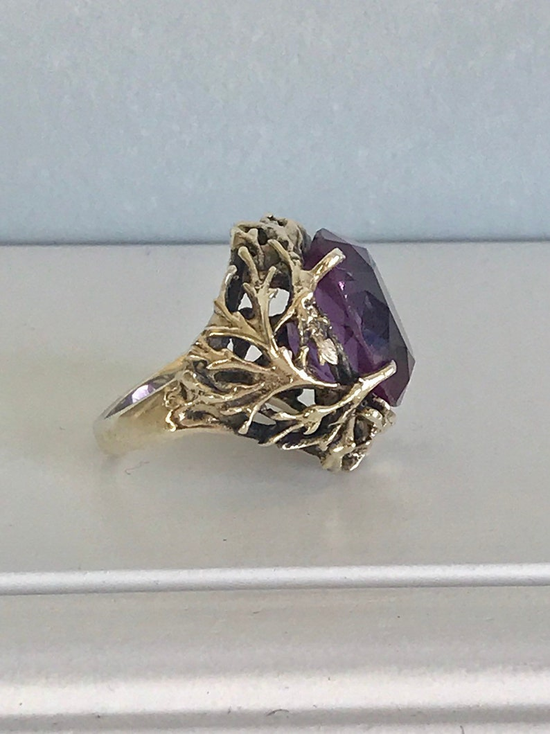 Vintage Sterling Silver Tree of Life Amethyst Cocktail Ring 8 image 0