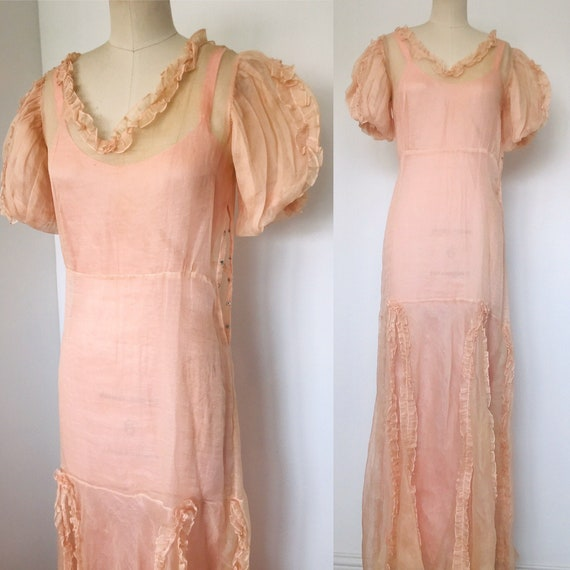 1920's Sheer Organza Drop Waist Dress with Under S