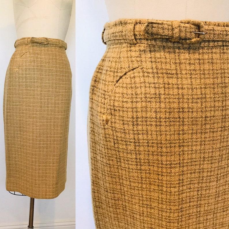 1950's Evan-Picone Wool Camel Tweed Pencil Skirt  S image 0