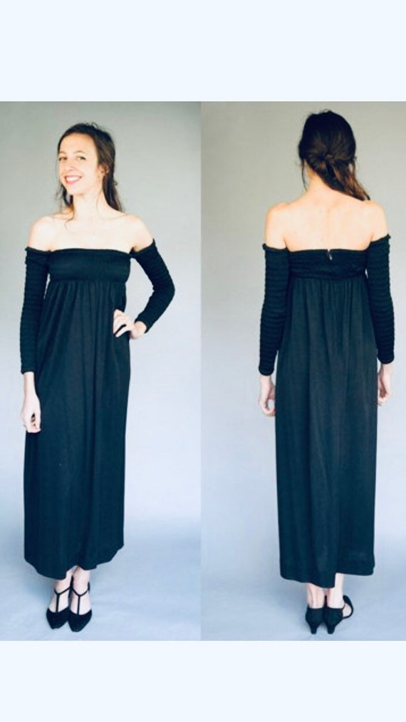 70's Mr. Mort Ruched Jersey Black Knit Maxi Dress