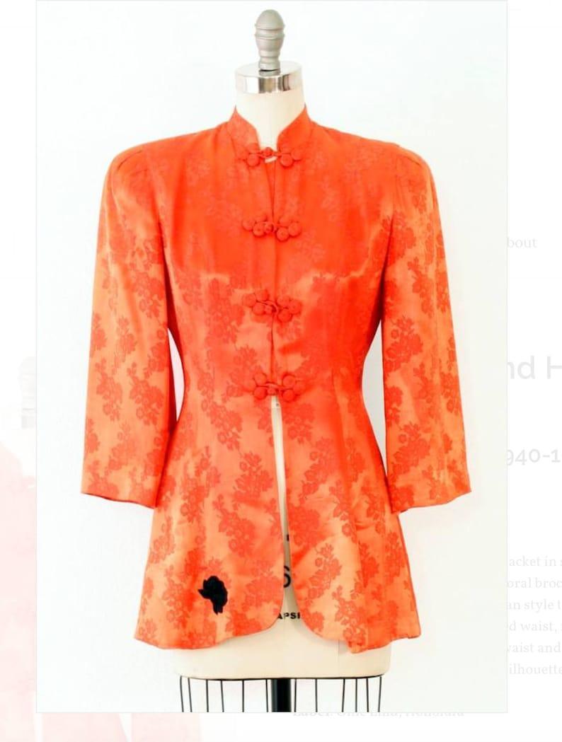 1940's Ollie Lind Honolulu Silk Brocade Peplum Jacket  S image 0
