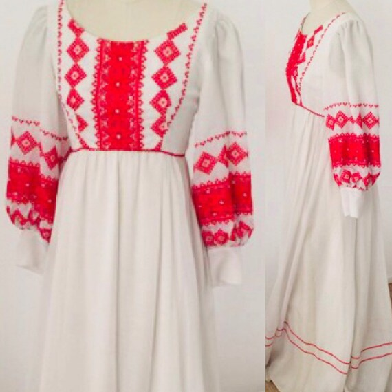 70's Hungarian Embroidered Peasant Dress l M