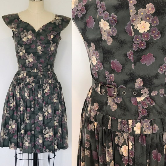 50's Teena Paige Floral Chintz Drop Waist Dress |