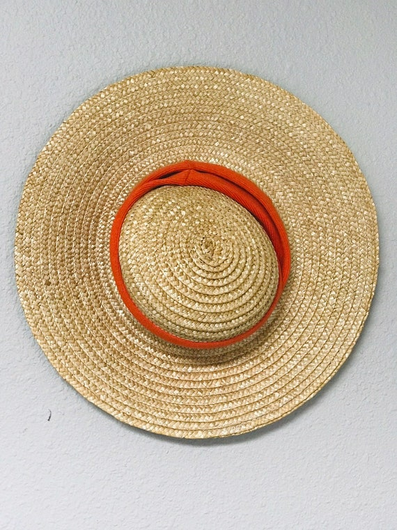 70's French Country Picture Hat Wide Brimmed Stra… - image 4