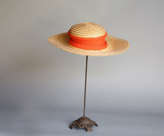 70's French Country Picture Hat Wide Brimmed Stra… - image 2