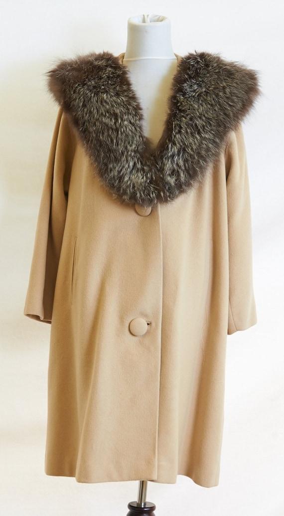 50's Cashmere Coat Fur Collar |M/L - image 3
