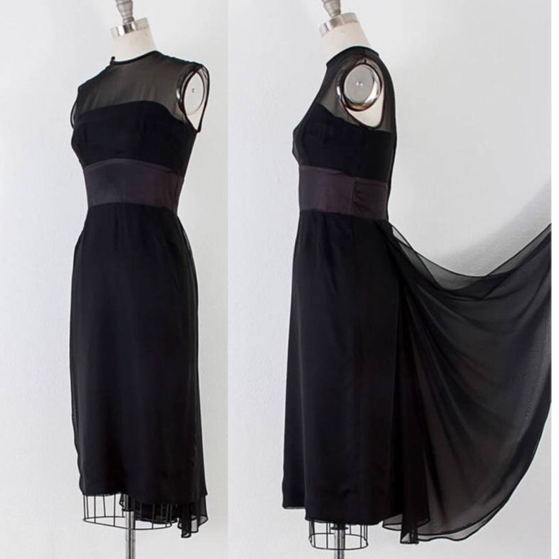1950's Black Silk Chiffon Illusion Cocktail Dress l M image 0