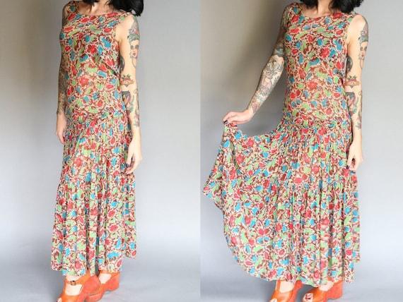 Custom 30's Silk Chiffon Flapper Dress | L - image 1