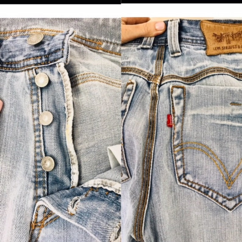Vintage Levis 501 Button fly Straight Leg Faded 32 image 0