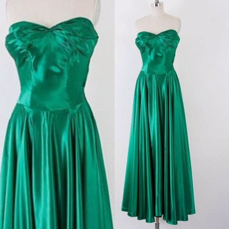 1940's Emerald Satin Strapless Gown l XS image 0