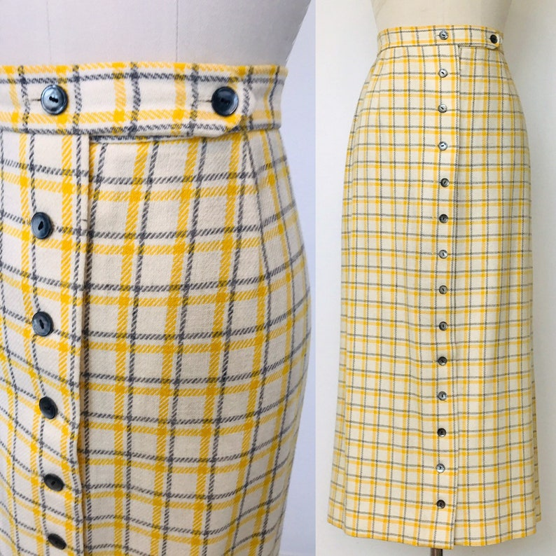 1970's High Waisted Woolen Plaid Midi Skirt Button Front  image 0
