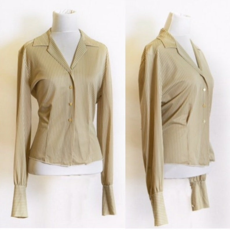 1930's Pinstripe Cuffed & Tapered Blouse with Notched image 0
