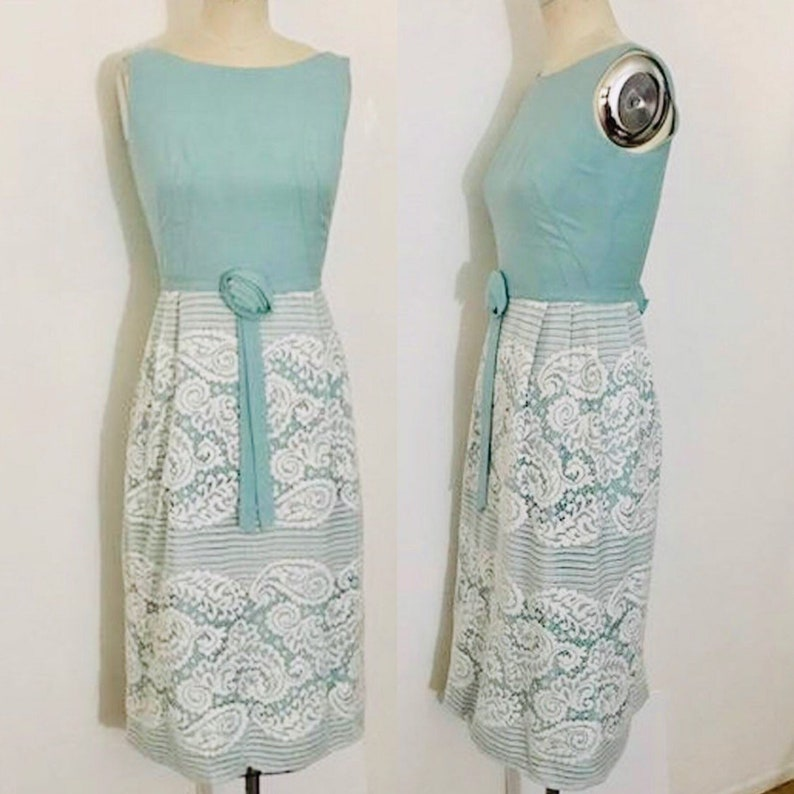 1960's Seaglass & Lace Party Dress S image 0