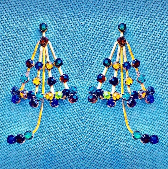 40's Umbrella Brooch Rainbow Crystals on Brass