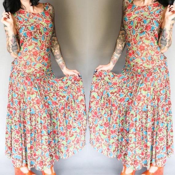 Custom 30's Silk Chiffon Flapper Dress | L - image 3