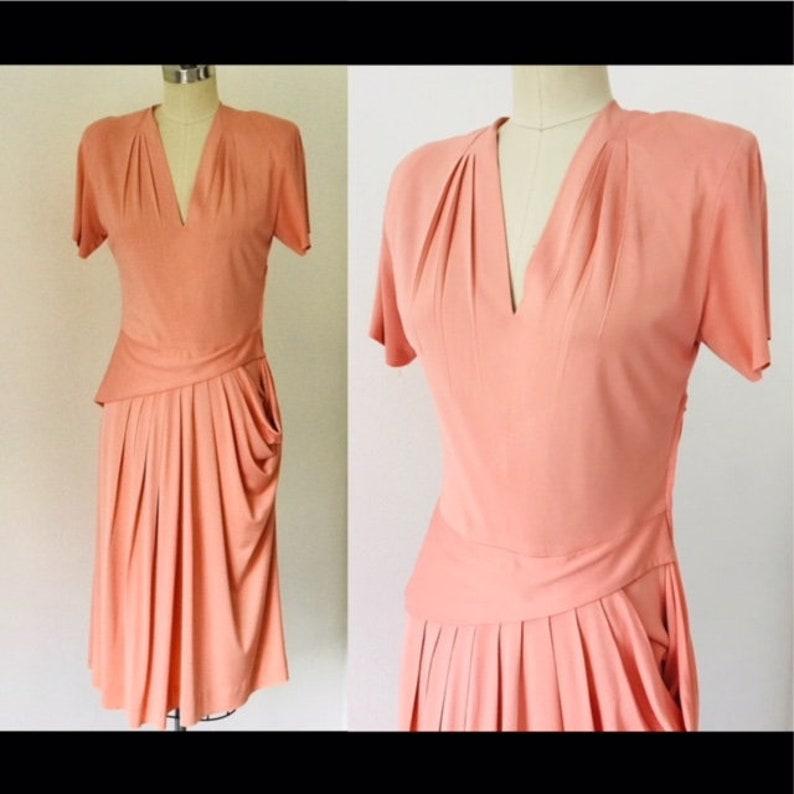 1940's Sherwyn Shops Side Peplum Pleated Dress  M image 0