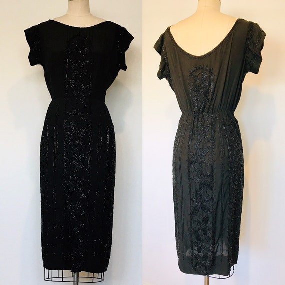 30's Silk Beaded Cocktail Dress | M