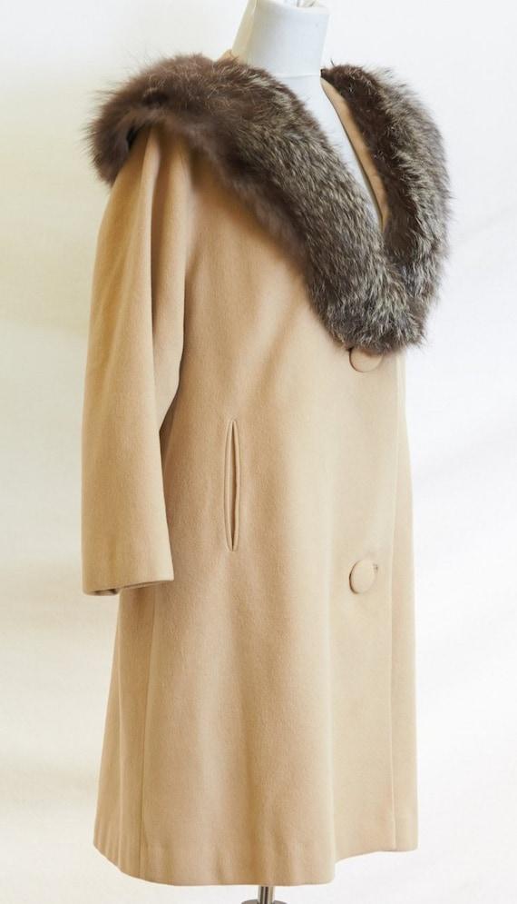 50's Cashmere Coat Fur Collar |M/L - image 2