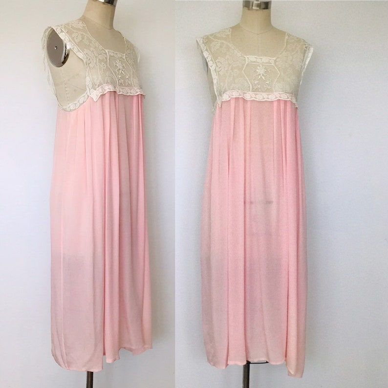 1940's Silk & Lace Baby Doll Slip Night Gown  L image 0