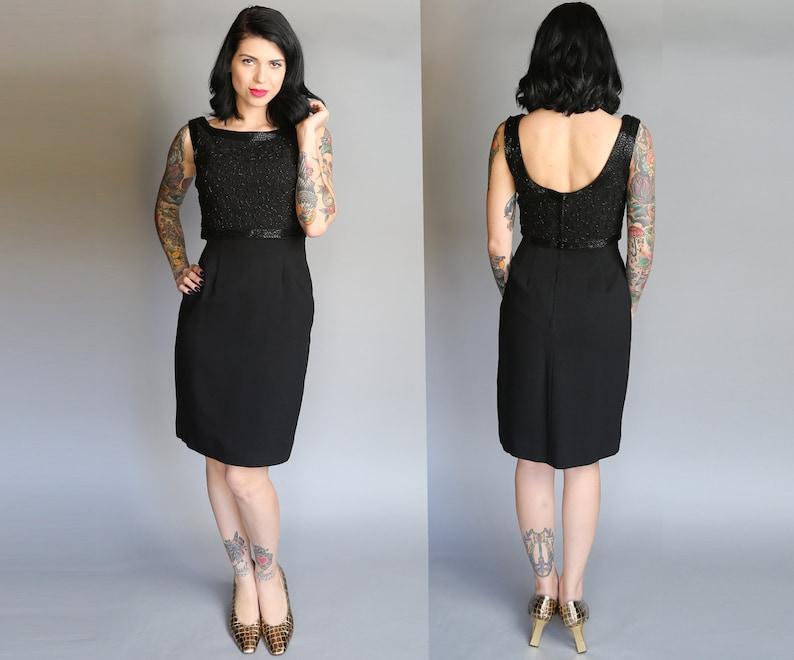 1960's Black Crepe Beaded Cocktail Dress  M image 0
