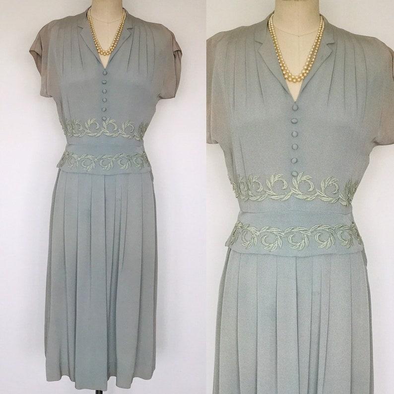 1940's Minx Modes Seaglass Embroidered Peplum Dress image 0