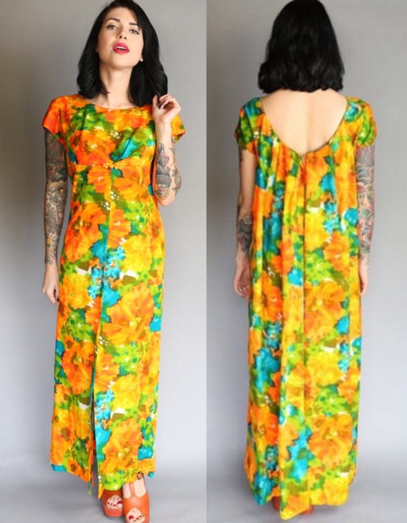 60's Hawaiian Togs Vintage Floral Empire Waist Max