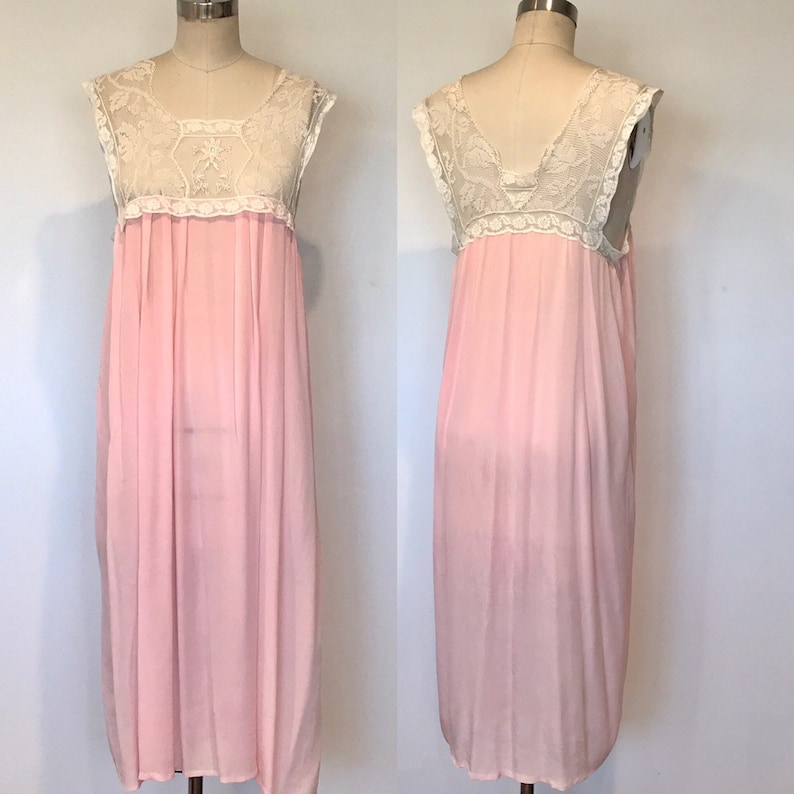 1940's Silk & Lace  Night Gown Slip  M image 0