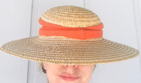 70's French Country Picture Hat Wide Brimmed Stra… - image 1