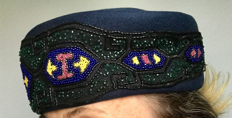 1950's Coralie New York Beaded Navy Pillbox Hat image 0
