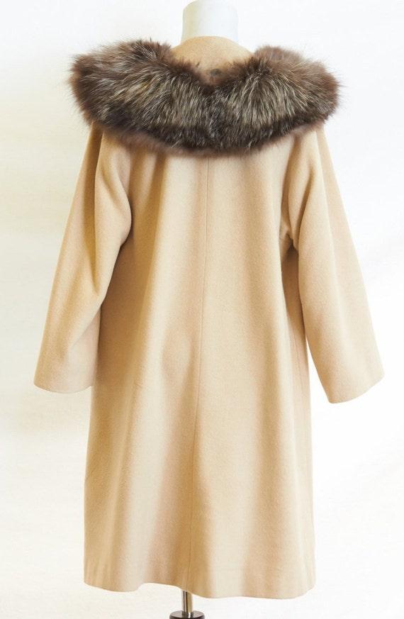 50's Cashmere Coat Fur Collar |M/L - image 4