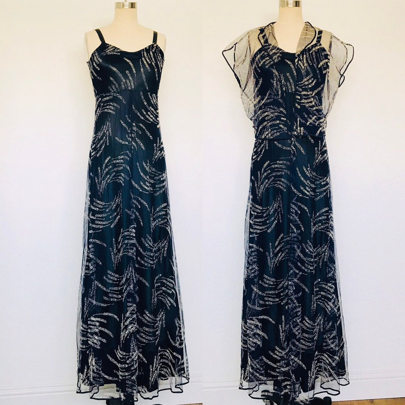 1930's Navy Silk Gown with Ivory Flocked  Net over-dress & image 0
