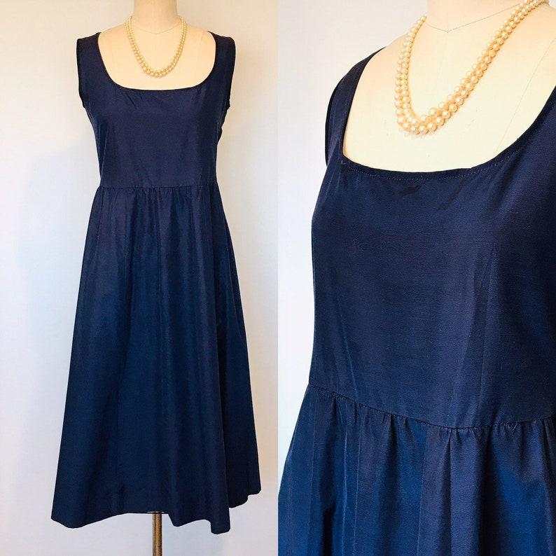 1950's Navy Chintz Empire Waist Day Dress VINTAGE l M/L image 0