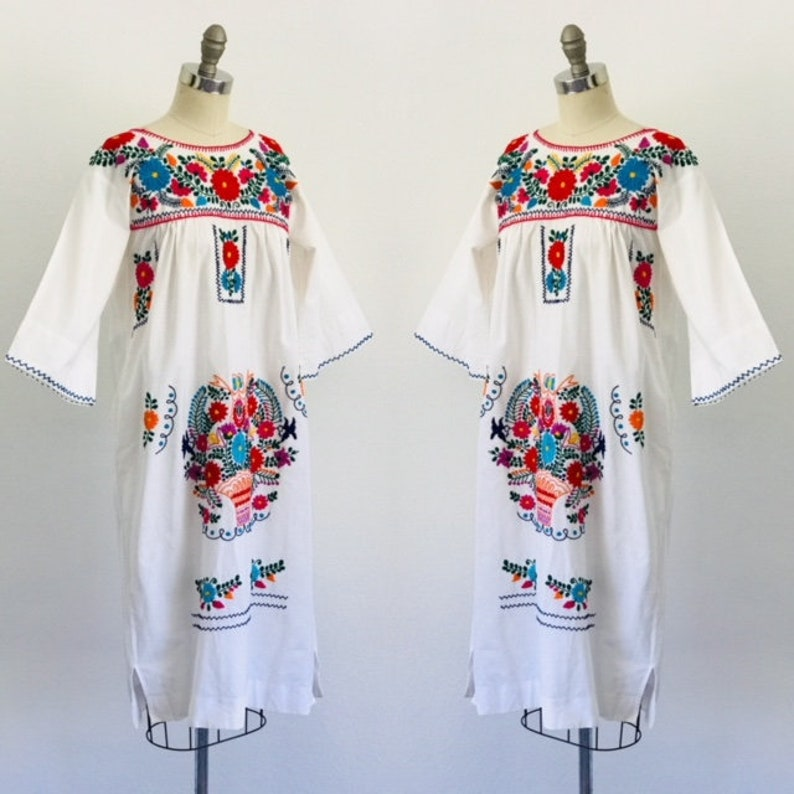 1970's Oaxaca Mexican Dress Cotton Embroideried Dress  S image 0