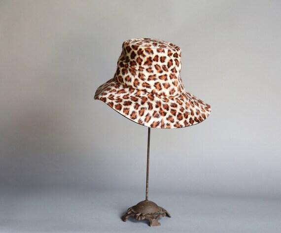 70's Faux Leopard Fur Animal Print Floppy Hat Gimb