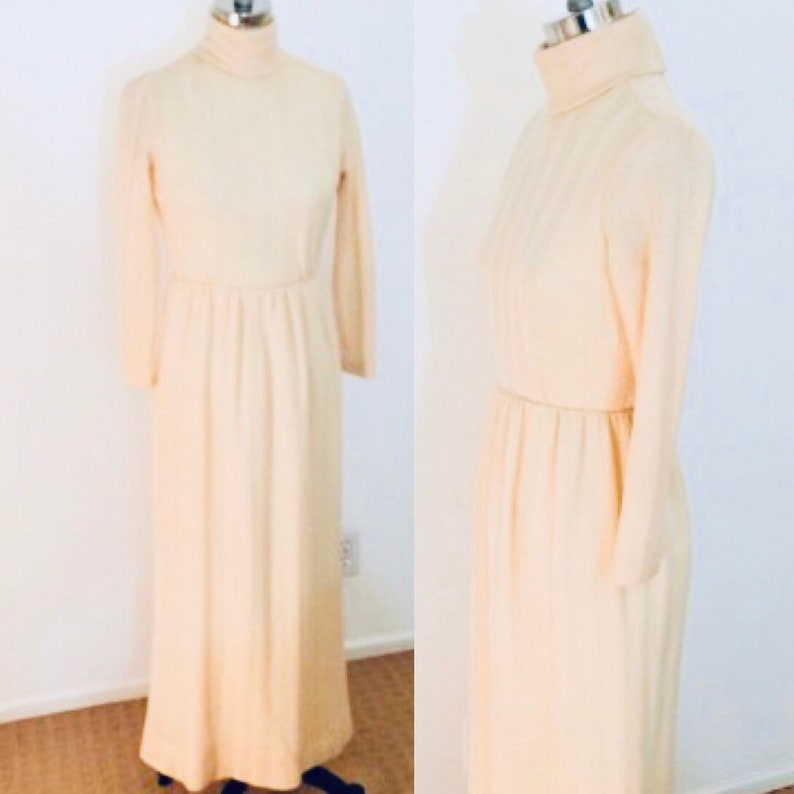Vintage 70's Wool Knit Maxi Dress Cream Turtleneck by S image 0