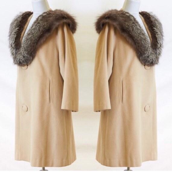 50's Cashmere Coat Fur Collar |M/L - image 1