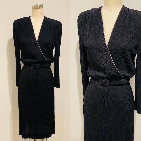 80's Leslie Fay Black Krinkle Cocktail Dress w/Rhi