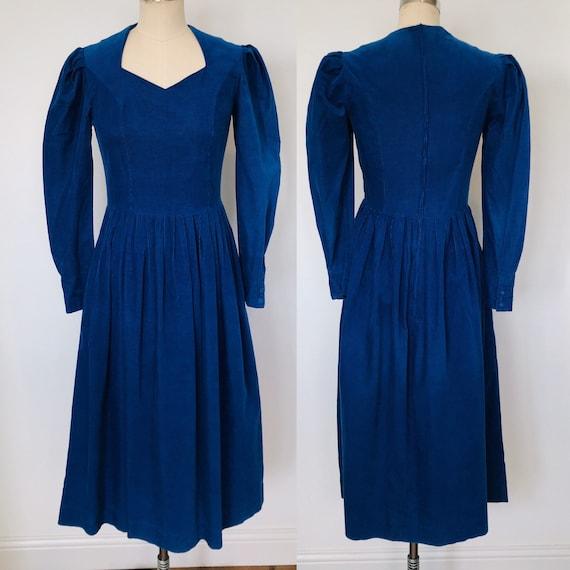 70's Laura Ashley Corduroy Dress Blue | 8