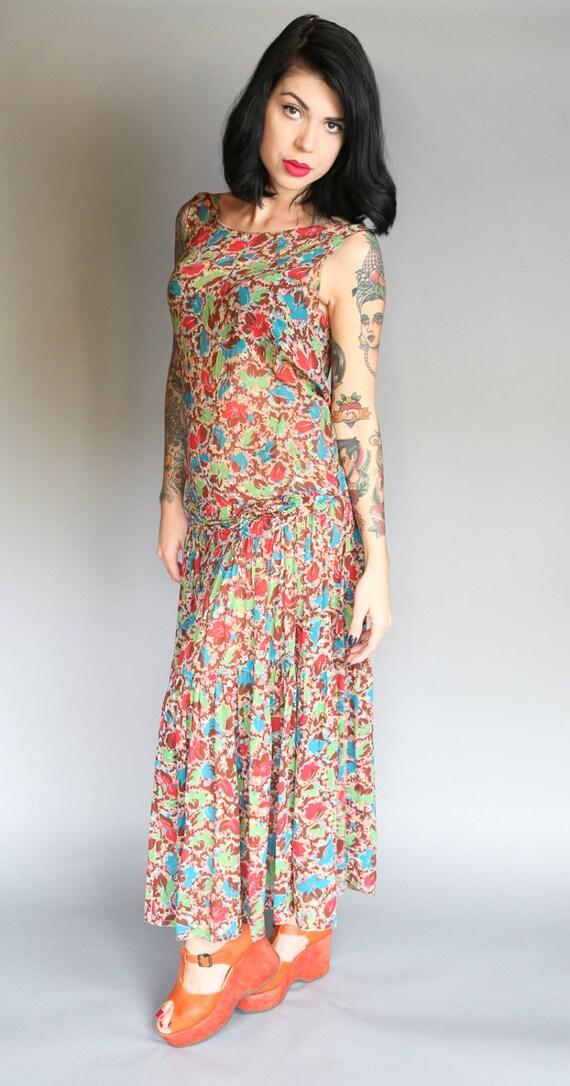 Custom 30's Silk Chiffon Flapper Dress | L - image 4