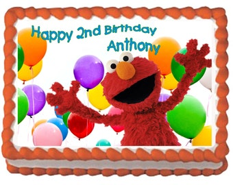 Elmo Birthday Cake Topper With FREE Personalization