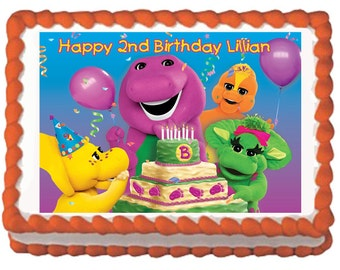 Barney Birthday Cake Topper With FREE Personalization