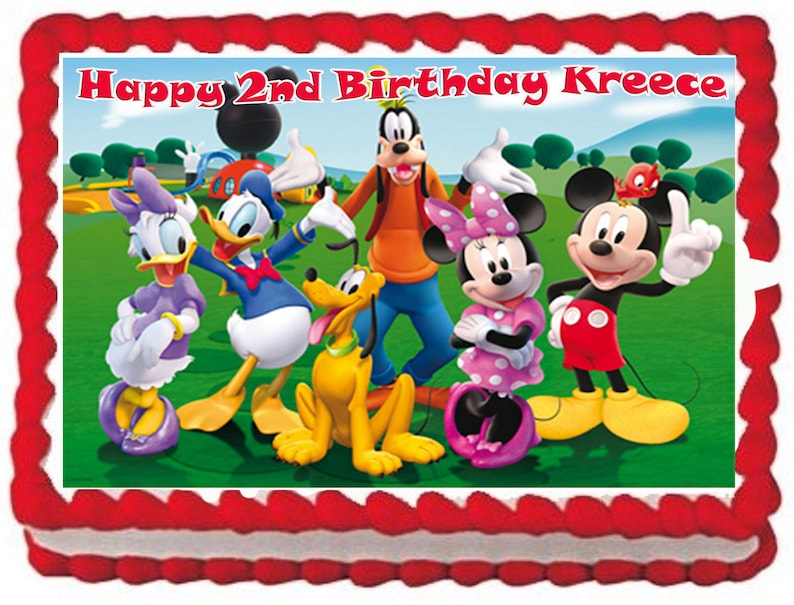 Fine Mickey Mouse Club House Cake Topper With Free Personalization Etsy Funny Birthday Cards Online Overcheapnameinfo