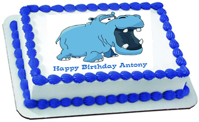 Awesome Blue Hippo Birthday Edible Cake Topper With Free Etsy Personalised Birthday Cards Akebfashionlily Jamesorg