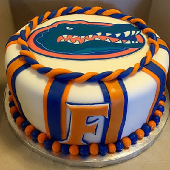 Cool Florida Gators Birthday Cake Gainesville Football Edible Cake Etsy Funny Birthday Cards Online Elaedamsfinfo