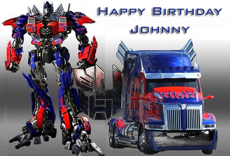 Transformers Birthday Cake Topper Optimus Prime Bumble Bee