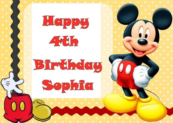 Mickey Mouse Edible Cake Topper With Free Personalization