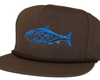 3df50b738a615 SALMON - Snap Back - 5 panel - Poplin Hat - Blue Embroidery - Fishing -  California - Washington - Alaska - Oregon - by uroko - limited