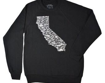 f1bb46f1 CALIFORNIA FISH LOVE - Black - Crew Neck Sweatshirt - Salmon - Bill Fish -  Sea Bass - Trout - Rock Fish - Tuna - Golden State - by uroko