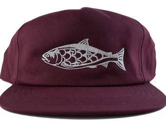 7c0f1f9df6c79 Salmon Snap Back Hat - Burgundy - 5 Panel - Unstructured - Alaska -  Washington - Oregon - California - Fishing - Maroon - limited - by uroko